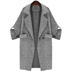 Yoins Lapel Collar Adjustable Sleeve Trench Coat (1.865 RUB) ❤ liked on Polyvore featuring outerwear, coats, jackets, coats & jackets, yoins, grey, gray coat, collar coat, grey trench coat and long sleeve coat
