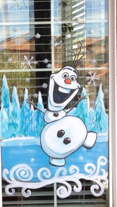Holiday window painting, Olaf