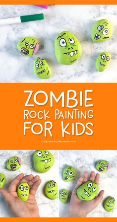 Make these easy zombie Halloween painted rocks for kids this Halloween season. It's the perfect Halloween craft for the whole family! Halloween Zombie, Zombie Crafts, Halloween School Treats, Halloween Rocks, Halloween Activities For Kids, Halloween Party Supplies, Cute Halloween Costumes, Halloween Season, Fun Crafts For Kids