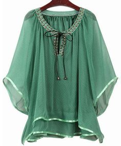 Green Polka Dot Scoop Neck Beading Print Front Bat Sleeve Chiffon Blouse With Ruffle