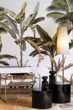 Hollywood regency decor, tropical patterns, palm wallpaper