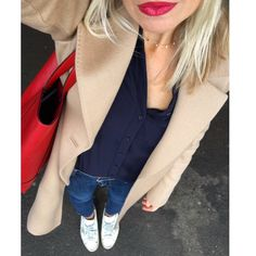 Camel coat, red tote, white sneakers and fab lippie.  LOve