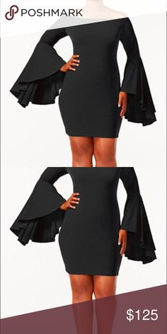 Trendy Plus Size Bell Sleeve Evening Mini Dress This dress is just amazing! Perfect for that confident plus size women ready to go out, for a night on the town and be the star of the evening. Nice heavy weight fabric, not thin or cheap- this is a high quality evening dress. Made for the plus size woman with class Saprano Dresses Mini