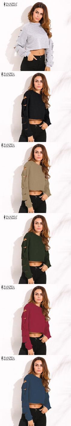 2016 Autumn Women Sexy Crop Hoodies Sweatshirts Casual Loose O Neck Long Sleeve Ripped Hollow Out Solid Cotton Pullovers Tops