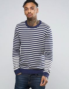 Get this Pepe Jeans's knit pullover now! Click for more details. Worldwide shipping. Pepe Finn Stripe Knit - Navy: Jumper by Pepe Jeans, Cotton knit, Crew neck, Ribbed trims, Regular fit - true to size, Machine wash, 100% Cotton, Our model wears a size Medium and is 185.5cm/6'1 tall. From its inception as a Portobello market stall launched by three brothers in 1973, Pepe Jeans has risen to become one of the world�s leading denim labels. Look to Pepe Jeans for premium, detail-rich denim in…