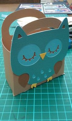 owl gift bag made using cricut create a critter cartridge