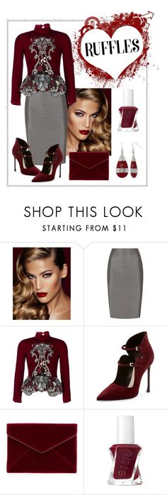 """""""Burgundy & Gray"""" by andrea-kaye-nowak ❤ liked on Polyvore featuring Charlotte Tilbury, MaxMara, Ezgi Cinar, Christian Dior, Rebecca Minkoff, Essie and Mixit"""