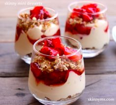 """Skinny Mini Desserts are the newest craze for those wanting to """"have their cake and eat it too"""". This mini cheesecake satisfies your every sweet desire and does so at only 138 calories. Decadence now comes in Mini size! Healthy Desserts, Just Desserts, Delicious Desserts, Dessert Recipes, Yummy Food, Yogurt Recipes, Cheesecake Recipes, Mini Strawberry Cheesecake, Yummy Treats"""
