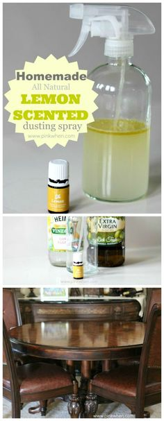 Homemade Lemon Scented Dusting spray - works so well and smells so good! www.pinkwhen.com @pinkwhen