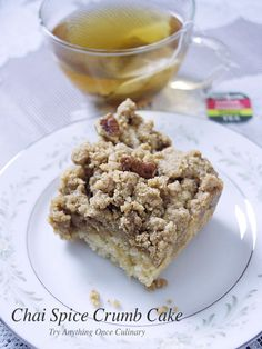 From Dionne, Try Anything Once Culinary: Chai spice crumb cake is deliciously baked with cinnamon, cardamom, ginger and ground cloves. Truvia sweetens this cake, even the crumb topping, and this cake is great to serve for brunch or even dessert.