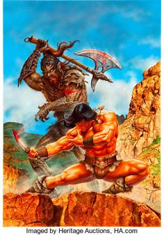 Fantasy Sword, Fantasy Art, John Carter Of Mars, Original Paintings, Original Art, Conan The Barbarian, Pulp Magazine, Sword And Sorcery, Vintage Comics