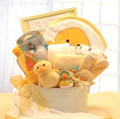 Duck Newborn Baby Bath Basket Set