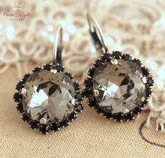 Black diamond smokey Gray drop earrings, Swarovski black diamond Crystal earrings, gift for her, Silver Crystal drop earrings, Bridal jewel by iloniti on Etsy https://www.etsy.com/listing/208749810/black-diamond-smokey-gray-drop-earrings