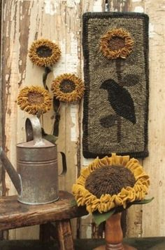 Olde Sunflowers & Make-Do Rug Hooking Pattern by Buttermilk Basin ~ Staci West