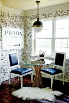 Every fashion girl's dream dining room, complete with a Prada Marfa art print