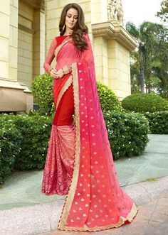 IVimal Peach Colored Embroidered Chiffon Georgette Net Festive Saree - 97057