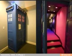 Doctor Who door idea! The Tardis door should lead to a movie room with every episode of Doctor Who on DVD. But the movie room should have surround sound and be able to tilt when the Tardis lurches tilts and falls Hidden Rooms, Hidden Closet, Entertainment Room, Dr Who, Home Theater, Theater Rooms, My Dream Home, Dream Homes, Future House