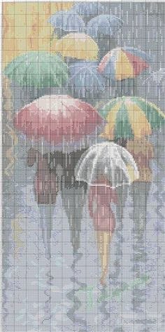 umbrele 1 - just an image, don't know more than that but it does look like some type of cross stitch chart Needlepoint Patterns, Counted Cross Stitch Patterns, Cross Stitch Charts, Cross Stitch Designs, Cross Stitch Embroidery, Embroidery Patterns, Cross Stitch Silhouette, Cross Stitch Tutorial, Just Cross Stitch