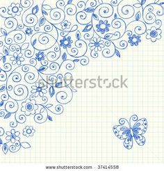 Hand-Drawn Sketchy Notebook Doodle Vines on Lined Graph (Grid) Paper Background by blue67design, via Shutterstock