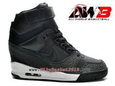 best service bee24 d5b61 Chaussures Montante Nike Pas Cher Pour Femme Nike Air Revolution Sky Hi GS  Noir Blanc 599410