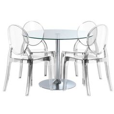 Round Florentia Table With Clear Glass Top And 4 Beatrice Dining