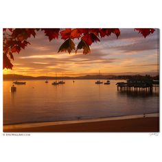 """Autumn Sunrise in Hobart"" Tasmania Fine Art Gallery Wrapped Canvas Print"