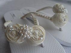 Ivory Bridal Flip Flops / Wedding Satin Flip by RossyAccesorios, $38.99