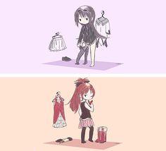 mahou shoujo madoka magica tumblr - Homura,Kyoko