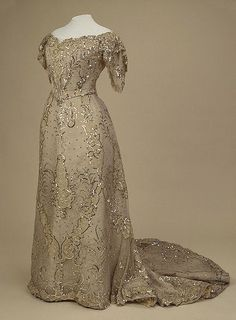 Evening Dress of Empress Alexandra Fyodorovna, by Auguste Brisac's Workshop, St. Petersburg, early 20th century, at the State Hermitage Museum