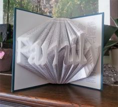 If you've ever seen books with the pages folded into the shape of words and wondered how the heck it's done, here is one method.