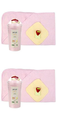 Lambs & Ivy Yum Yum Baby Smoothie Hooded Bath Towel Set - Pink The pink smoothie includes 1 hooded towel, 1 wash cloth and 1 finger puppet. The hooded towel measures 30 x 40 and the wash cloth measures 8 x 8. Cleverly packaged to look like scrumptious treats. Made of 100% cotton bath items. Wrapped up and ready to give.  #Lambs_&_Ivy #Baby_Product