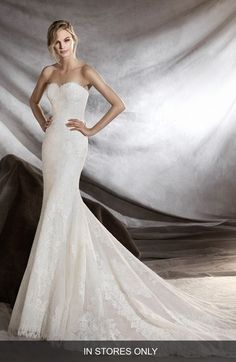 Pronovias Orilla Strapless Lace Tulle Mermaid Gown (In Stores Only) available at #Nordstrom