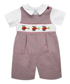 This Red Helicopter Smocked Shortalls & White Top - Infant & Toddler is perfect! #zulilyfinds