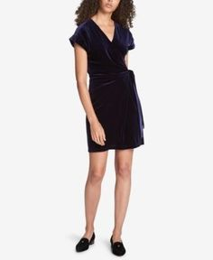 Tommy Hilfiger Velvet Wrap Dress, Created for Macy's - Blue 10