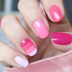 Spring/summer nails, possibly made with: Essie - Castaway, Essie - Fiji, Essie - Guilty Pleasures,   Essie - Watermelon
