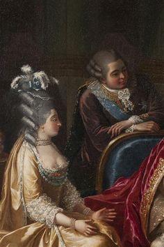 The comte and comtesse de Provence, Marie-Josephine-Louise de Savoie and Louis-Stanislas-Xavier de France (future Louis XVIII), detail of 1781 portrait of the French royal family, French school (Versailles)