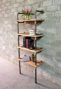 Furniture Pipeline Industrial Tall Wall Mounted Open Etagere Pipe Bookcase, Metal with Reclaimed Wood Finish Industrial Design Furniture, Vintage Industrial Furniture, Pipe Furniture, Furniture Projects, Industrial Chic, Furniture Stores, Rustic Furniture, Furniture Nyc, Cheap Furniture