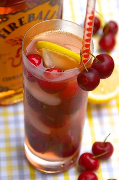 Fireball Cherry Tree Cocktail with Fireball Whiskey: 2 ounces Fireball Whiskey ¼ cup fresh cherries 4 ounces cherry lemonade Cherries for garnish  Muddle the fresh cherries in the Fireball Whisky, then strain into a glass filled with ice. Add the cherry lemonade and garnish with fresh cherries.
