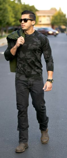 Mens's fashion and style by Royal Fashionist- Hunter Style ( Camo , Rayban, Banana Republic, Swiss legend, UGG, Guess)