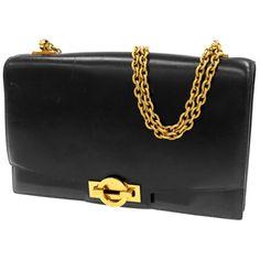 Authentic-Hermes-Chain-Shoulder-Bag-Stamp-I-Black-Leather-Vintage-GR-1682250