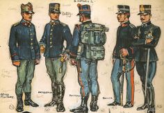 Italy 1905-14 39 .- Soldier of Engineers, service uniform with blue warrior, hat and pants campaign greenish gray, model 1908, black leather leggings. 40.-Gunner, service uniform with the blue tunic, pants gray-green model 1908 and high black leather leggings. 41 .- infantryman, marching uniform model with equipment 1908. 42 .- Major medical service, service uniform with the blue warrior. 43 Official .- Cavalry Warrior service campaign.