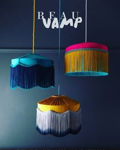 """Tassel lampshades //""""T I F F A N Y Collection hanging loud and proud. Available in small, medium and large sizes and in all colours to suit your interior! Decoration Inspiration, Interior Inspiration, Decor Ideas, Luminaria Diy, Lampe Decoration, Decorations, Interior Decorating, Interior Design, Lamp Shades"""