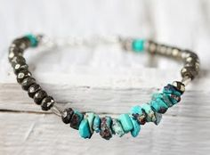 Raw Turquoise Bracelet - Turquoise Jewelry - Turquoise and Pyrite Bracelet - Mixed Stone Bracelet - December Birthstone Gift For Her