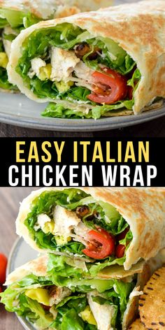 Try these easy Italian Chicken Wraps loaded with grilled chicken lettuce peppers tomatoes parmesan and zesty Italian dressing! This is an easy healthy wrap recipe perfect for lunch or dinner! Good Healthy Recipes, Lunch Recipes, Healthy Dinner Recipes, Healthy Food, Healthy Wraps, Healthy Chicken Wraps, Vegetarian Wraps, Healthy Eating, Clean Eating