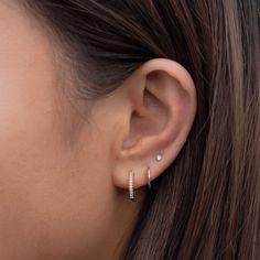 Three Ear Piercings, Pretty Ear Piercings, Ears Piercing, Piercings For Small Ears, Ear Piercings Chart, Tragus Piercings, Peircings, Ear Jewelry, Cute Jewelry