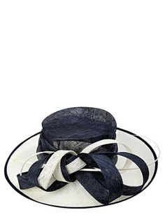 Navy Cream Two Tone Quill Hat But In Black And White
