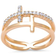 Sideways Cross Ring Rose Yellow Gold Plated Round Cubic Zirconia 925 Sterling Silver Choose Color 4-10 *** You can get additional details at the image link.-It is an affiliate link to Amazon.