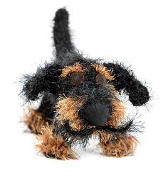 crochet dog with Salvador Dali moustache by Patti Haskins