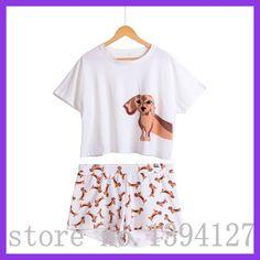 80d313643749 Best Seller Cute Women s Pajama Sets Dachshund Print 2 Pieces Set Suit Crop  Top + Shorts