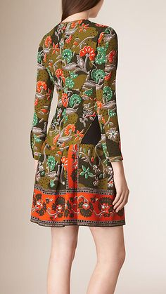 Antique green Floral Print Silk Dress - Image 2